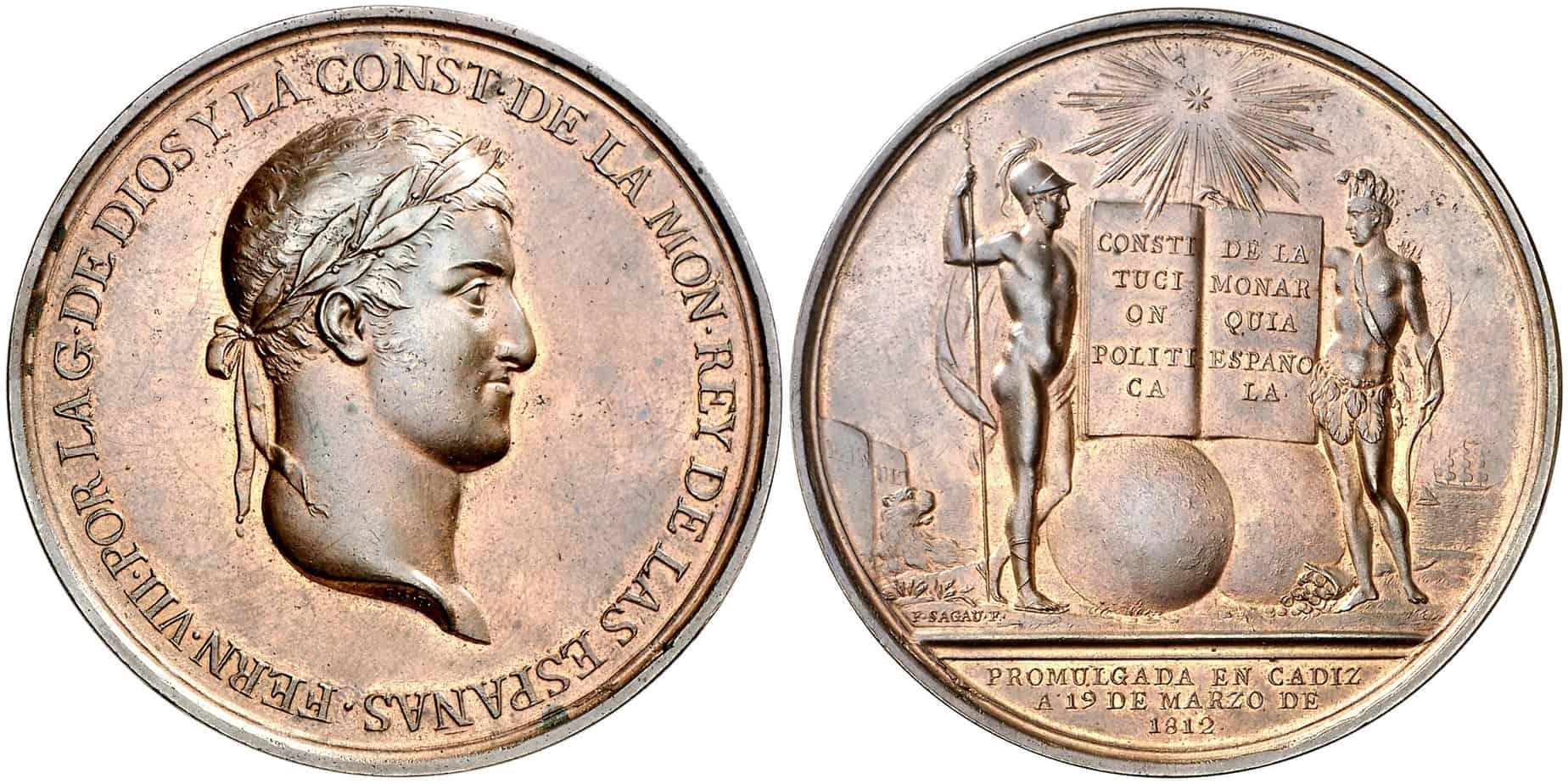 medalla Constitución de Cádiz cobre