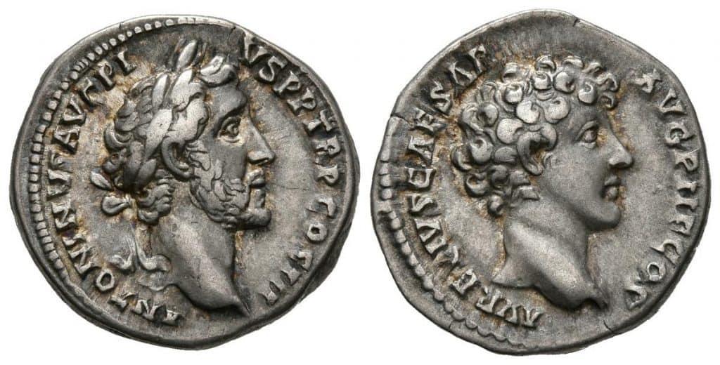denario Antonino Pío y Marco Aurelio
