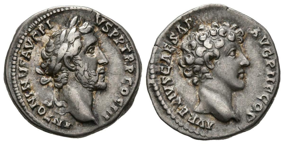 Denario de Antonino Pio y Marco Aurelio