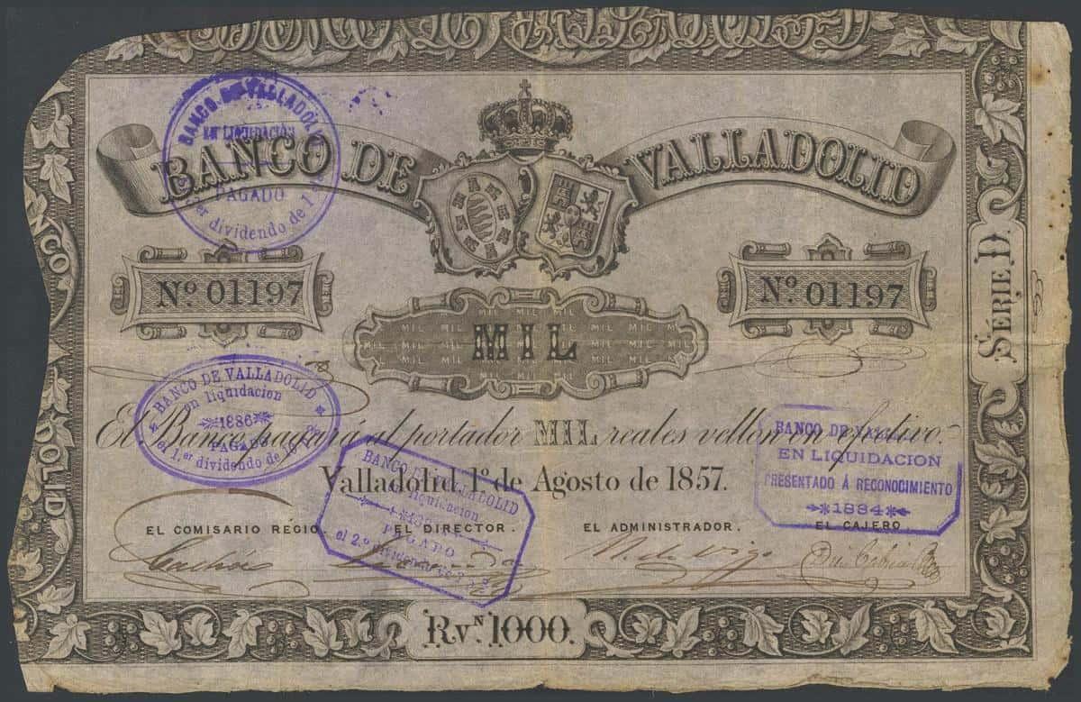 1000 reales Banco de Valladolid