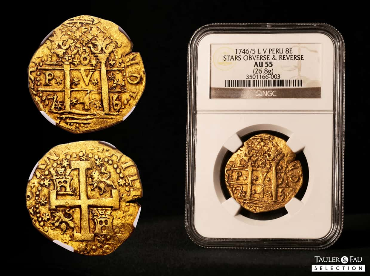 Lima, 8 escudos 1746, «estrellas»