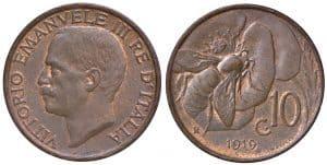 Víctor Manuel III - 10 centesimi 1919