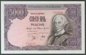 5.000 pesetas 1976. Carlos III. Número de serie: 780624.