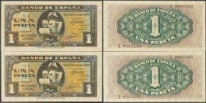 Pareja de 1 peseta 1940. Números de serie: I0661234 e I0661235.
