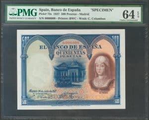 500 pesetas 1927. Isabel la Católica. SPECIMEN.