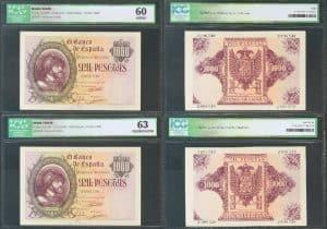 Pareja de 1.000 pesetas 1940. Carlos I. Números de serie: 2696549 y 2696548.