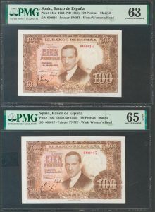 Pareja de 100 pesetas 1953. Julio Romero de Torres. Números de serie: 000016 y 000017.