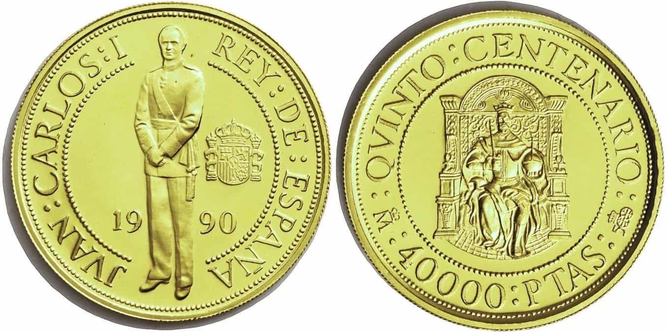 Juan Carlos I. 40.000 pesetas V Centenario