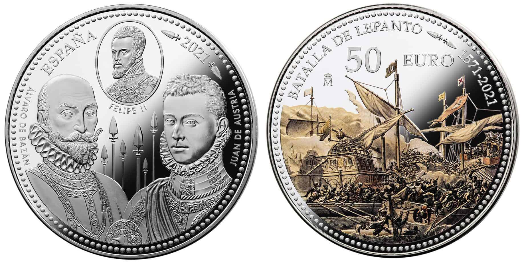 10 y 50 euros dedicados a la Batalla de Lepanto