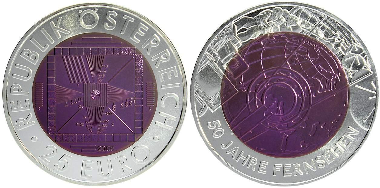 Austria, 25 euros plata y niobio